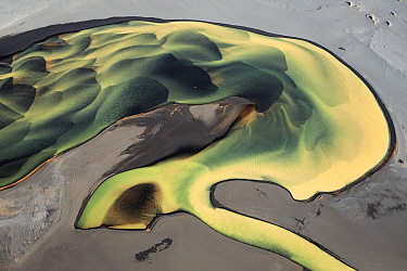 Aerial view of river meandering in grey sand in the Landeyjarsandur, Iceland, September 2010.