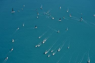 Aerial view of Hamilton Island sailing race, off the coast of Queensland, Australia, August 2011
