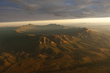 Dramatic early morning aerial of Wilpena Pound, Flinders Ranges National Park, South Australia, June 2011