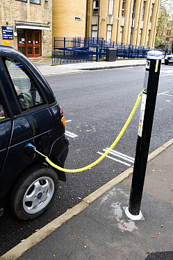 Electric car recharging at an Elektrobay Electric Vehicle Recharging Site in an urban street, London Borough of Islington, England UK