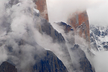 Trango Towers, with the Nameless Tower (6,239m) in the background, seem from the Baltoro Glacier, Central Karakoram National Park, Pakistan, July 2007.