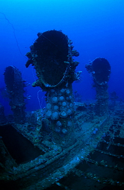 Engine room ventilator shafts of oil tanker 'Seiko Maru'. Sunk in Chuuk Lagoon 17/18th February 1944, Chuuk Lagoon, Pacific