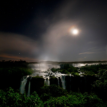 Iguasu Falls by moonlight, on the Iguasu River, Brazil / Argentina border. Photographed from the Brazilian side of the Falls. State of Parana, Brazil.