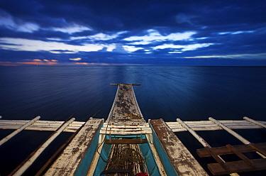 View from bangka boat at dawn, Danajon Bank, Central Visayas, Philippines, April 2013