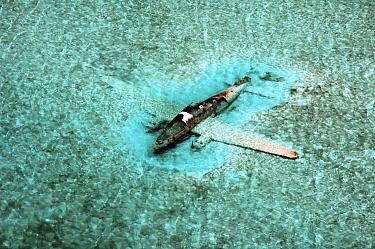 DC-3 Aircraft wreck. Drug running aircraft that crashed in shallow water. Normans Cay, Exhumas, Bahamas. May 2005