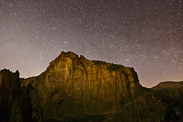 Starry night sky over Smith Rocks State Park, Oregon, May 2013.
