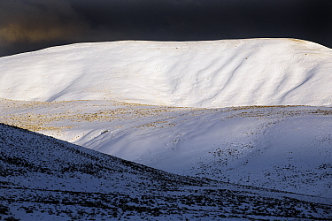 Hills in the Lamar Valley, in snow, Yellowstone National Park, Wyoming, USA, February 2013.