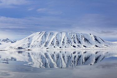 Landscape view across the Woodfjord, Spitzbergen, Svalbard, Norway, June, 2012.