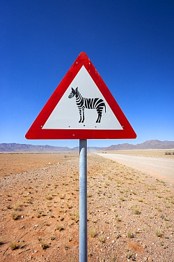 Zebra crossing animal warning sign, Namib Desert, Namibia, April