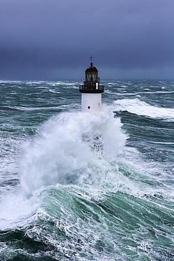 Rough seas at d'Ar-Men lighthouse during Storm 'Ruth', Ile de Sein, Armorique Regional Park. Iles du Ponant, Finistere, Brittany, France, Iroise Sea. 8th February 2014.  France, Bretagne...
