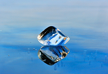 Ice fragment reflected in the ice of Lake Baikal, Siberia, Russia, March.