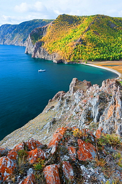 Coast of Olkhon island, Lake Baikal, Siberia, Russia, September 2013.