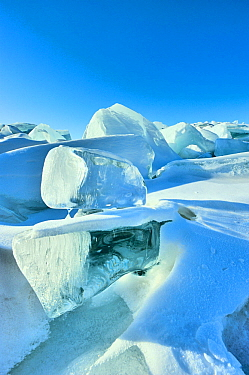 Ice formations on Lake Baikal, Siberia, Russia, March 2012.