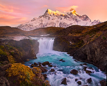 Salto Grande waterfall with Paine Grande beyond, Torres del Paine National Park, Chile, June 2014.