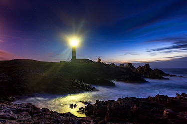 Light of the Creac'h Lighthouse at night. Ile d'Ouessant / Ushant, Finistere, Brittany, France, September 2011.