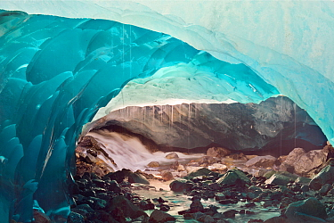 Ice cave melting in Mendenhall Glacier, Juneau, Alaska, USA, August 2014.