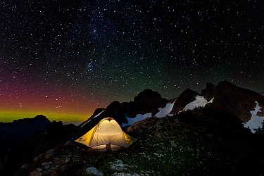 Campsite at night, with light pollution from nearby city,, below Three Fingers Lookout, Boulder River Wilderness, Mount Baker, Washington, USA. August 2014.