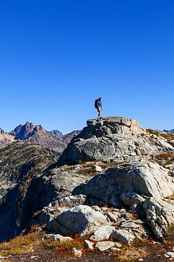 Hiker above Horsefly Pass, North Cascades National Park Complex, Washington, USA. October 2015. Model Released.