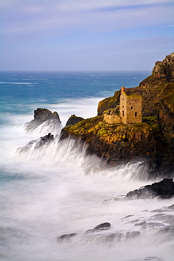 Crown Mines, derelict Tin Mines on coast at Botallack, Cornwall, England, UK. December 2012.