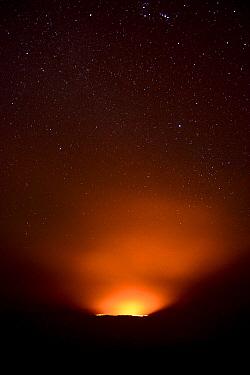 Erta Ale volcano illuminates the starry night. Afar Region, Ethiopia, Africa. November 2014.