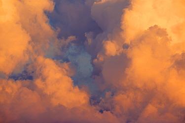 Detail of Cumulonimbus cloud at sunset. Nordtirol, Austrian Alps. July.
