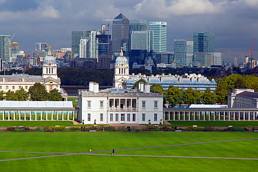 Landscape of Canary Wharf and Central London from Greenwich Park, London, England, UK, September 2015.