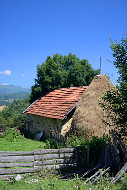 Traditional cottage and haystack in mountain village, near Foca, Bosnia and Herzegovina, July 2014.