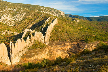 Ruined church of Saint Vincente, Finestres, Montsec de l'Estall, Aragon, Spain. December 2012.
