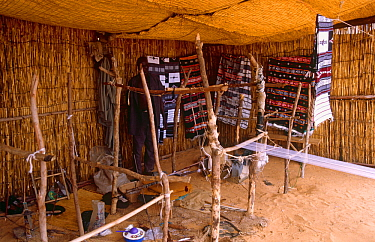 Weaver's looms and traditional Peul / Fula fabrics. National Museum, Naiamey, Niger, 2004.