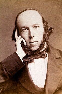 Sepia photograph of Herbert Spencer (1820-1903), English philosopher, 1860s. Spencer was a journalist who published his best known work Principals of Psychology in which he applied Darwin's ideas on e...