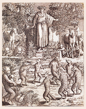 Illustration of Aesop and the animals of his stories engraved by Leonard Gaultier from  'Les images ou tableaux de platte peintre des deux Philostrates Sophistes Grecs' by Flavius Philostratus and Bla...