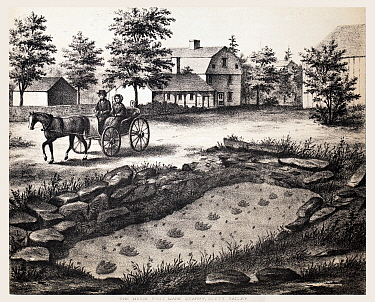 Lithograph of the Moody Footmark Quarry in South Hadley, where Pliny Moody discovered the very first fossil tracks in 1802.  From Hitchcock, Edward. Ichnology of New England. A Report on the Sandstone...