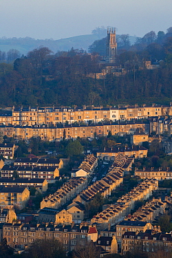 Georgian city of Bath from the Bath skyline walk, UK. UNESCO World Heritage Site. April 2015.