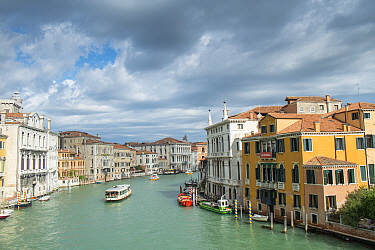 Grand Canal and waterfront buildings, Venice, Italy. April.