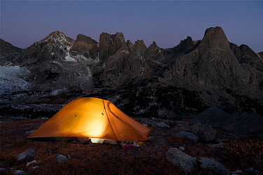 Campsite in Cirque Of Towers area, Popo Agie Wilderness, Wind River range, Shoshone National Forest, Wyoming, USA. September 2015.