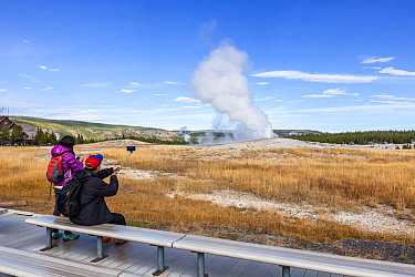 Tourists watching Old Faithful Geyser in Upper Geyser Basin, Yellowstone National Park, Wyoming, USA. September 2015.