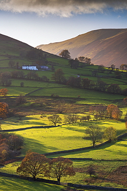 High Snab farmhouse in Newlands Valley, Lake District National Park, Cumbria, England, UK. November 2014.