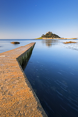 Slipway leading to St Michael's Mount on coast of Marazion, Cornwall, England, UK. May 2015.