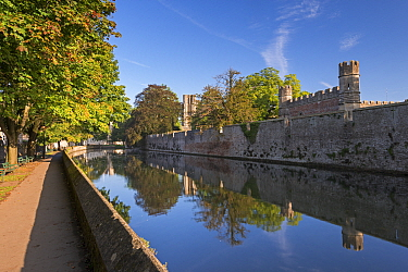Bishop's Palace and moat in the cathedral city of Wells, Somerset, England. September 2013.