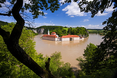 High water of the Danube, Weltenburg Monastery flooded, but protected by flood control measures, nature reserve Weltenburger Enge, Kelheim county, Bavaria, Germany, June 2013