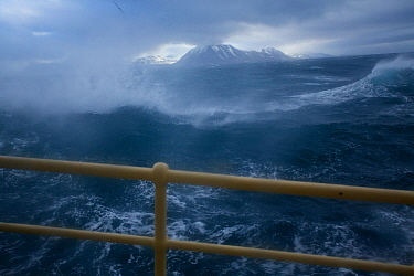 Arctic expedition cruiseship M/S Stockholm in heavy sea and gale winds at Sarkapp (South Cape), Svalbard, Norway, July 2012