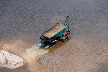 Aerial view of gold dredger in Essequibo river, Guyana South America