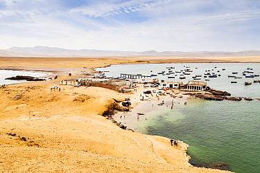 Lagunillas beach and restaurants, Paracas National Reserve, Ica Region, Peru. November 2013.