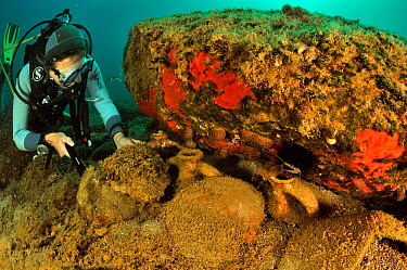 A diver in front of antique pieces of pottery in Pyrgaki Bay where a boat of ancient Greece went down, Paros Island, Greece, Aegean Sea