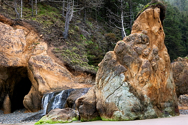 Waterfall at Hug Point, Hug Point State Park, Oregon, USA. April 2016.