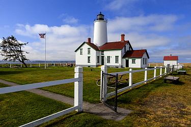 New Dungeness Lighthouse, Dungeness Spit near Sequim, Washington, USA. April 2016.