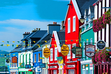 Colourful painted house facades in Dingle village, Dingle Peninsula, County Kerry, Ireland, Europe. September 2015.