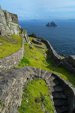 Monastery terraces on Skellig Michael, Skellig Islands World Heritage Site, County Kerry, Ireland, Europe. September 2015.