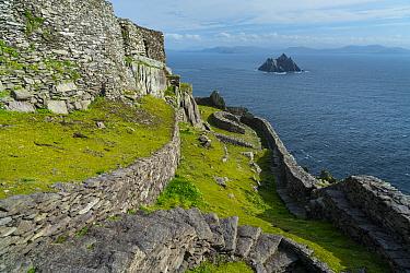Monastery terrace on Skellig Michael, Skellig Islands World Heritage Site, County Kerry, Ireland, Europe. September 2015.