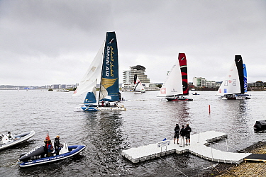 Catamarans taking part in the Extreme 40 catamaran racing series in Cardiff Bay, Cardiff, Wales, UK, September 2012.